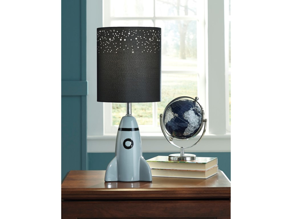 Signature Design by Ashley Lamps - YouthCale Gray/Black Ceramic Table Lamp