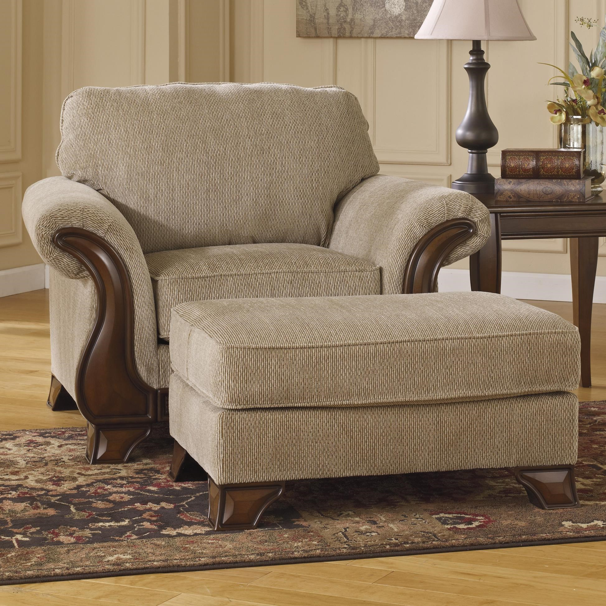 Chair & Ottoman with Faux Wood Accents