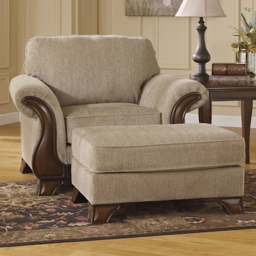 Signature Design by Ashley Lanett Chair & Ottoman with Exposed Wood Accents