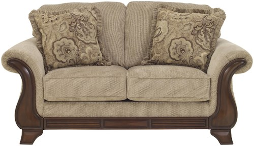 Signature Design by Ashley Lanett Loveseat with Exposed Wood Accents