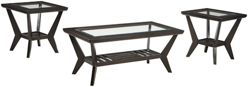 Signature Design by Ashley Lanquist Contemporary 3-Piece Occasional Table Set with Inset Glass Table Tops and Slat Shelves