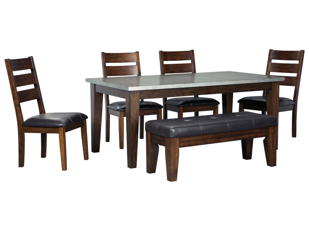 Signature Design By Ashley Larchmont 6 Piece Rectangular Table Set With Bench And Metal Look Top