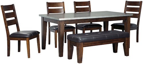 Signature Design By Ashley Larchmont 6 Piece Rectangular Table Set With Bench And Metal Look