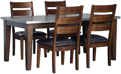 Signature Design By Ashley Larchmont 5 Piece Rectangular Dining Table Set With Metal Look