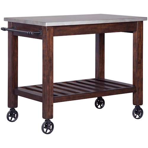 Signature Design by Ashley Larchmont Server/Kitchen Cart with Metal Look Top, Towel Rack & Industrial Style Wheels