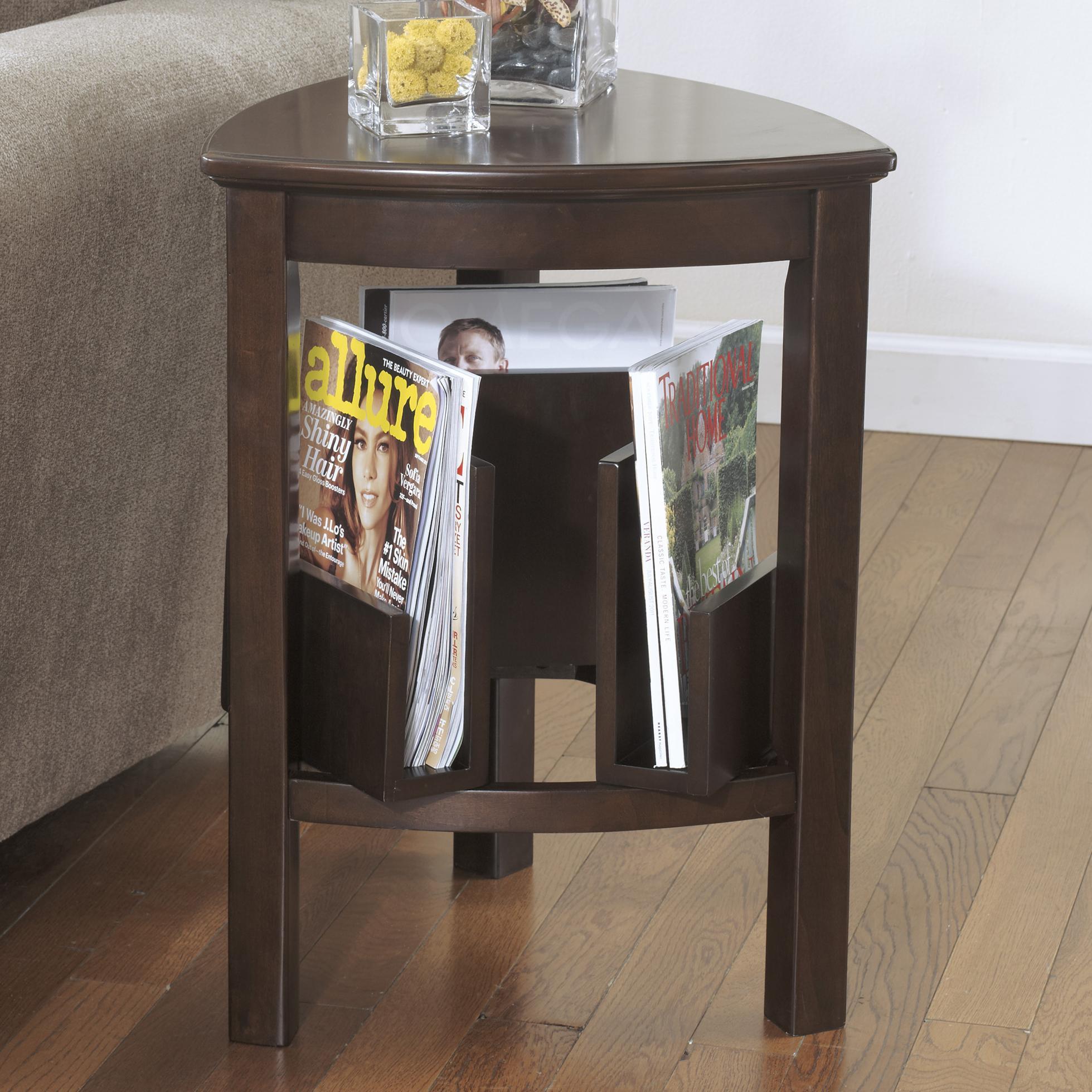 Signature Design By Ashley Larimer Triangle End Table With Magazine Racks