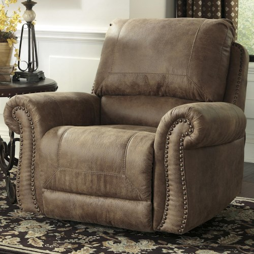 Signature Design by Ashley Larkinhurst - Earth Roll Arm Rocker Recliner w/ Nailhead Trim