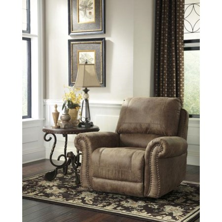 Roll Arm Rocker Recliner w/ Nailhead T