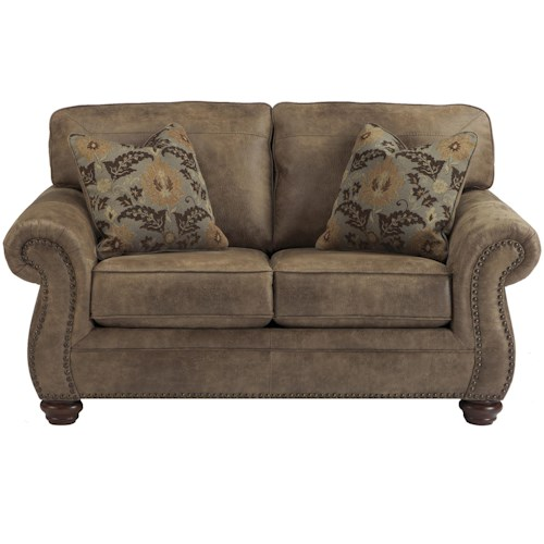 Signature Design by Ashley Larkinhurst - Earth Loveseat w/ Nailhead Trim
