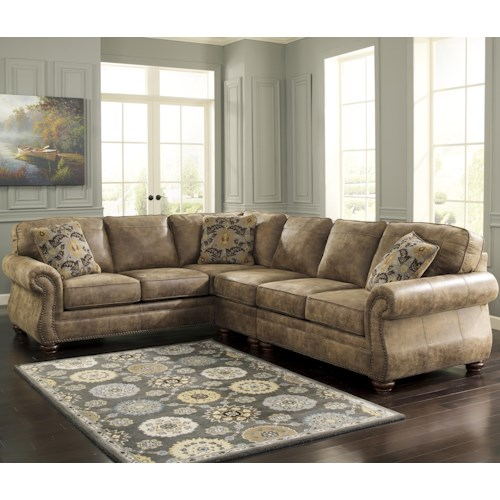 Signature Design by Ashley Larkinhurst - Earth Roll Arm Sectional with LAF Sofa