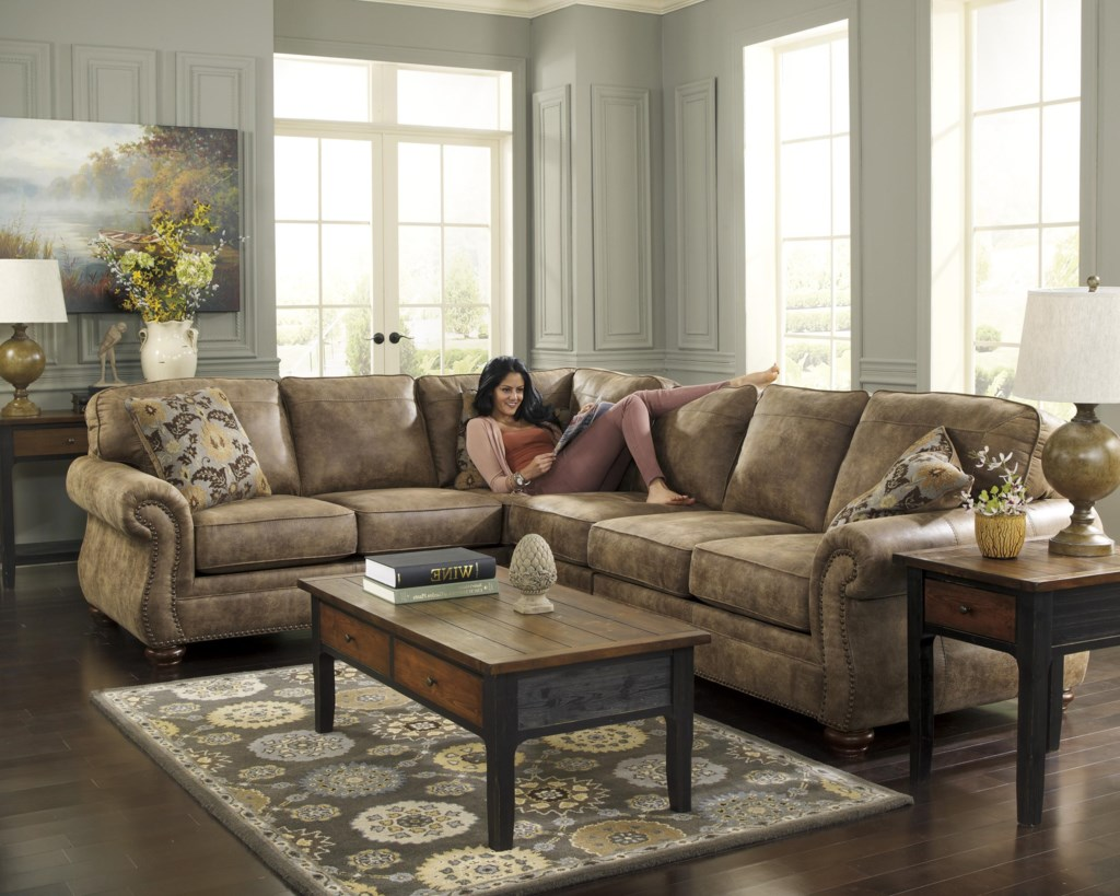 Larkinhurst - Earth Roll Arm Sectional With LAF Sofa By Signature Design By  Ashley