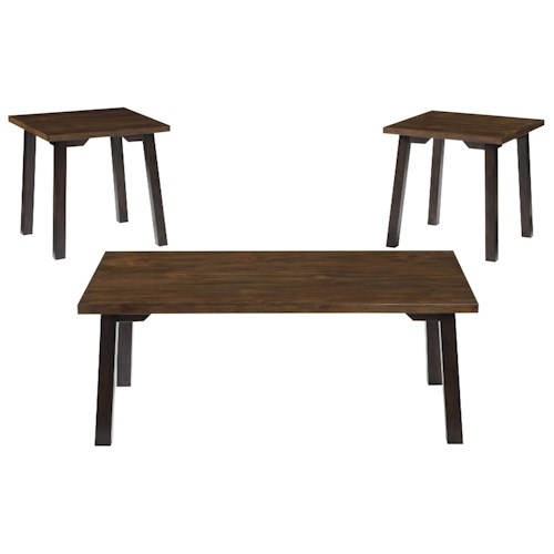 Signature Design by Ashley Latoon 3-Piece Occasional Table Set in Two-Tone Finish with Plank Style Tops and Solid Wood Legs