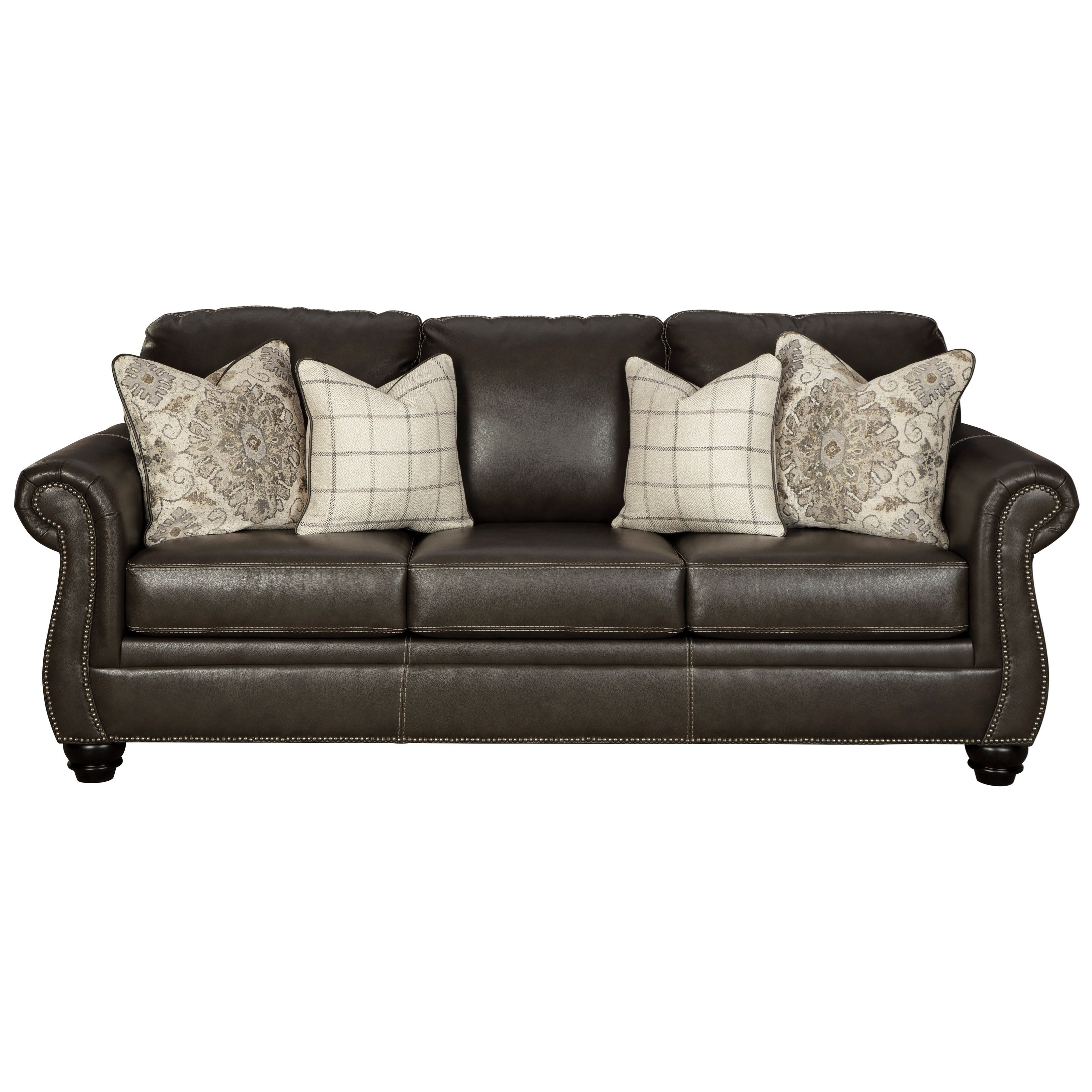 Signature Design By Ashley Lawthorn Traditional Queen Sofa Sleeper With Nailhead Trim Wayside Furniture Sleeper Sofas