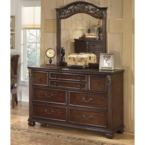 Signature Design by Ashley Leahlyn Traditional Dresser and Mirror Set