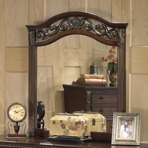 Signature Design by Ashley Leahlyn Traditional Beveled Bedroom Mirror with Ornate Frame