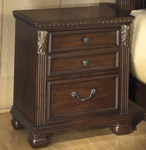 Signature Design by Ashley Leahlyn 2-Drawer Night Stand with  Fluted Pilasters