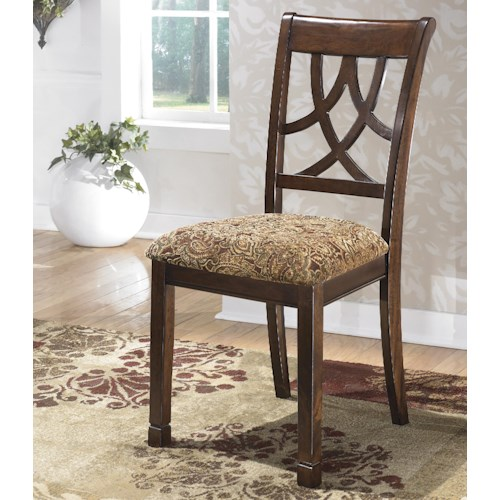 Signature Design by Ashley Leahlyn Cherry Finish Dining Upholstered Side Chair