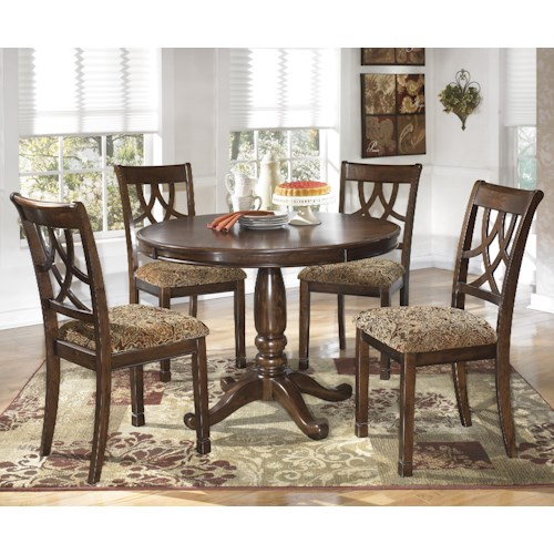 Signature Design by Ashley Leahlyn 5-Piece Cherry Finish Round Dining Table Set