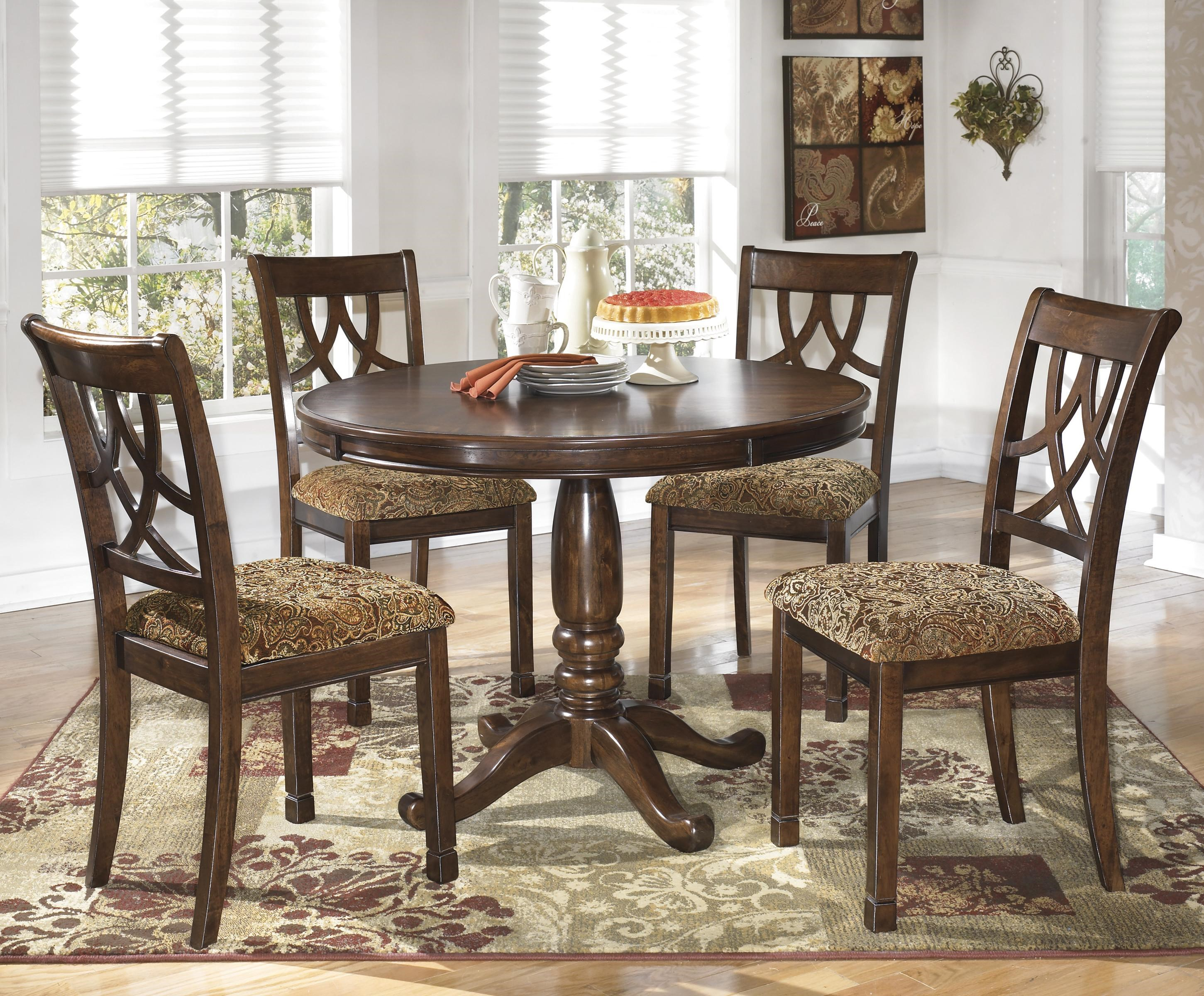 Signature Design By Ashley Leahlyn 5 Piece Cherry Finish Round Dining Table  Set