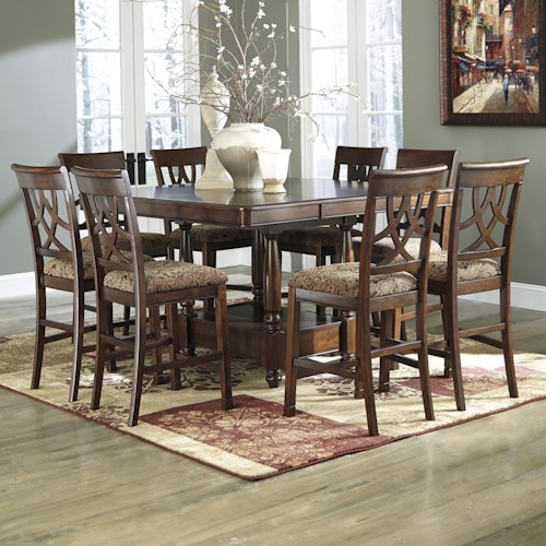 Signature Design by Ashley Leahlyn 9-Piece Cherry Finish Counter Table Extension Set