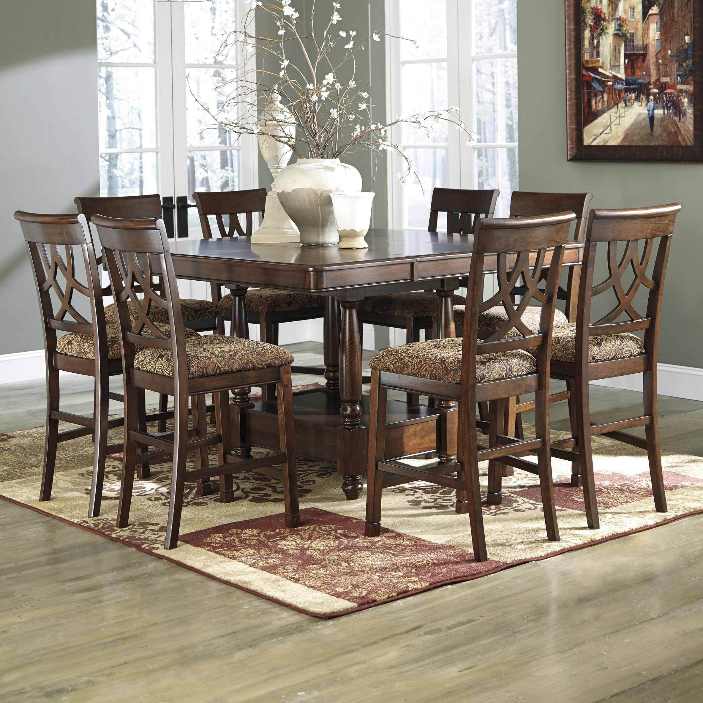 Wonderful Signature Design By Ashley Leahlyn 9 Piece Cherry Finish Counter Table  Extension Set   Olindeu0027s Furniture   Pub Table And Stool Sets