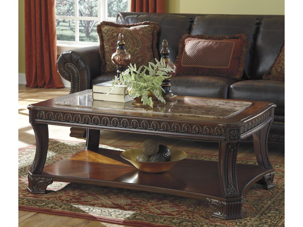 Signature Design By Ashley Ledelle Old World Rectangular Tail Table With Marble Look Top 1 Shelf