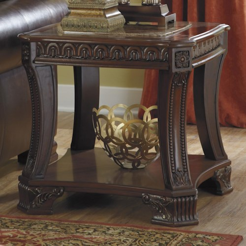 Signature Design by Ashley Ledelle Old World Square End Table with Marble-Look Top & 1 Shelf