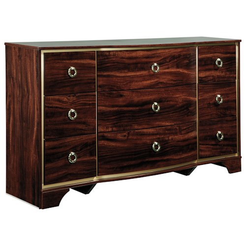 Signature Design by Ashley Lenmara Dresser with Gold Finish Trim
