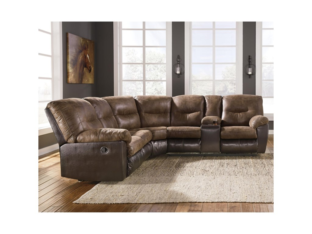 Ashley Signature Design Leonberg Casual Two Tone L Shaped Sectional Dunk Bright Furniture Sofas