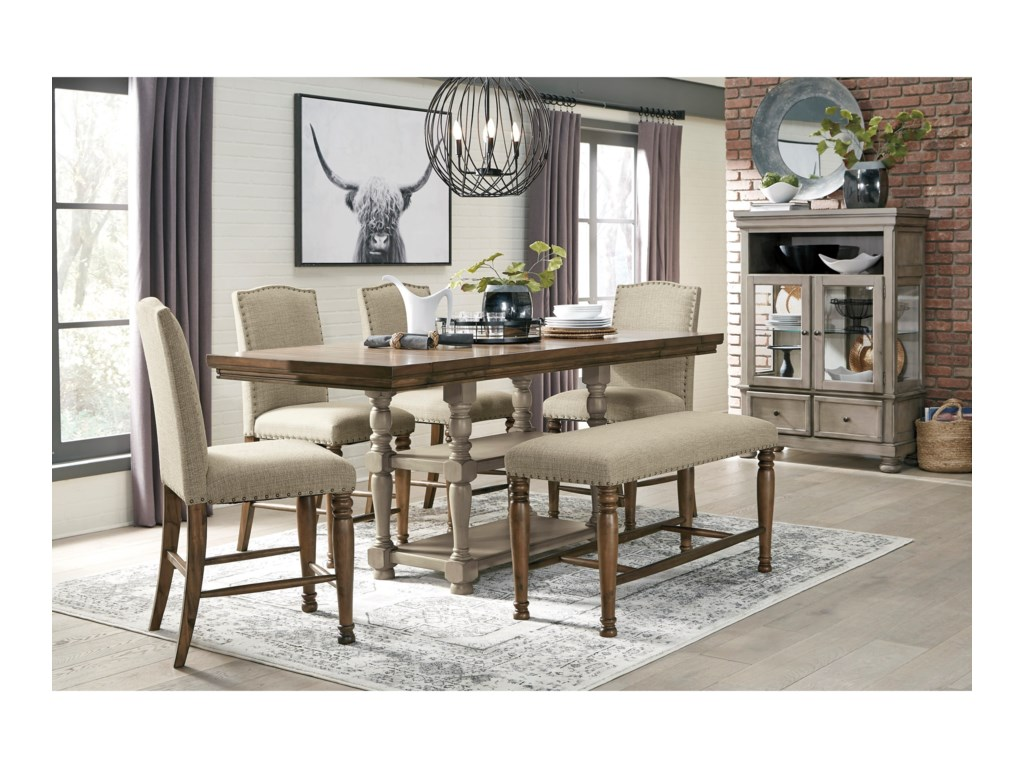 Signature Design by Ashley Lettner6-Piece Counter Table Set with Bench