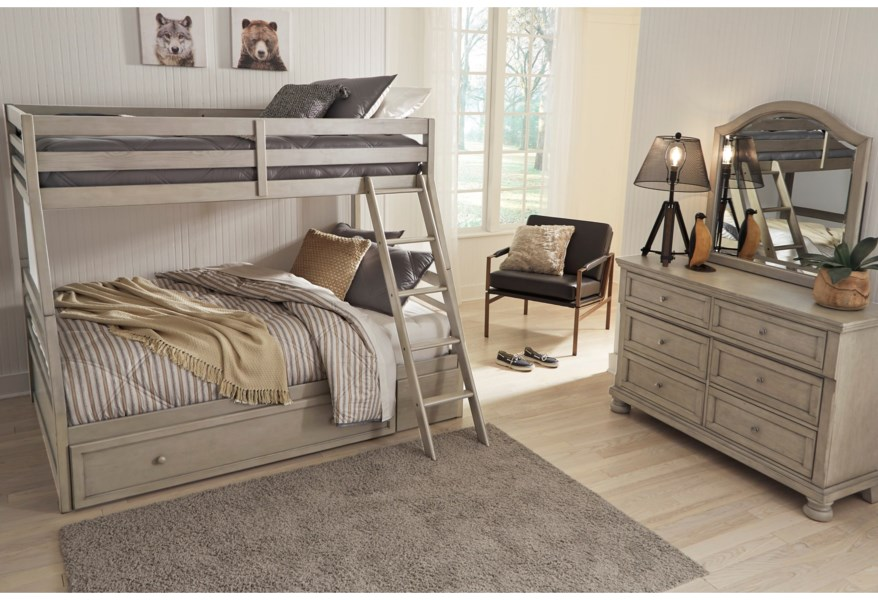 Signature Design By Ashley Lettner Twin Full Bunk Bed W Under Bed