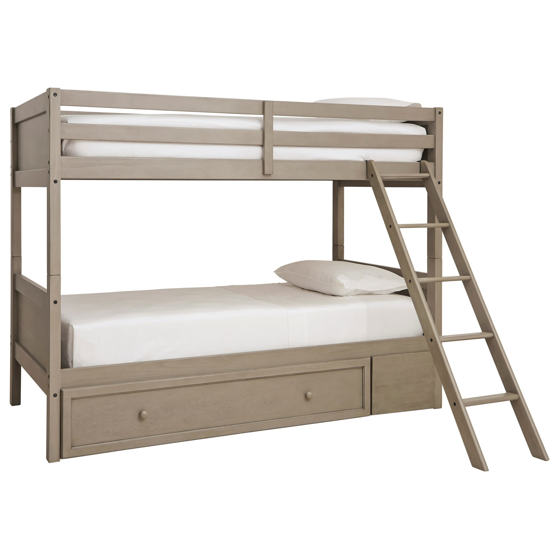 Picture of: Signature Design By Ashley Lettner Twin Twin Bunk Bed W Ladder Under Bed Storage Conlin S Furniture Bunk Beds