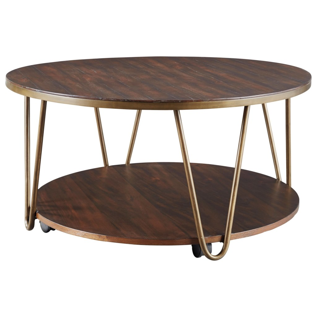 Signature Design By Ashley Lettori Contemporary Round Cocktail Table