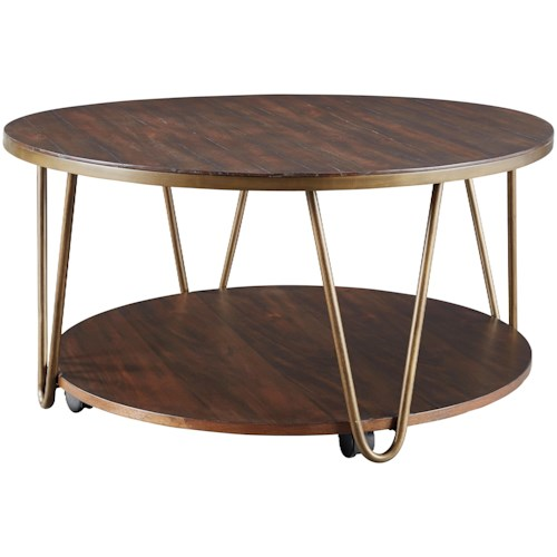 Signature Design By Ashley Lettori Contemporary Round Tail Table With Casters