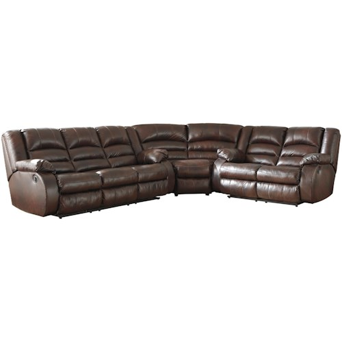 Signature Design by Ashley Levelland 3-Piece Leather Match Reclining Sectional