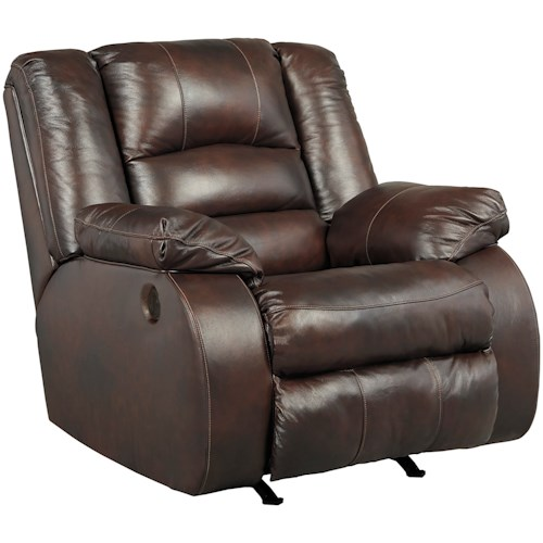 Signature Design by Ashley Levelland Leather Match Power Rocker Recliner