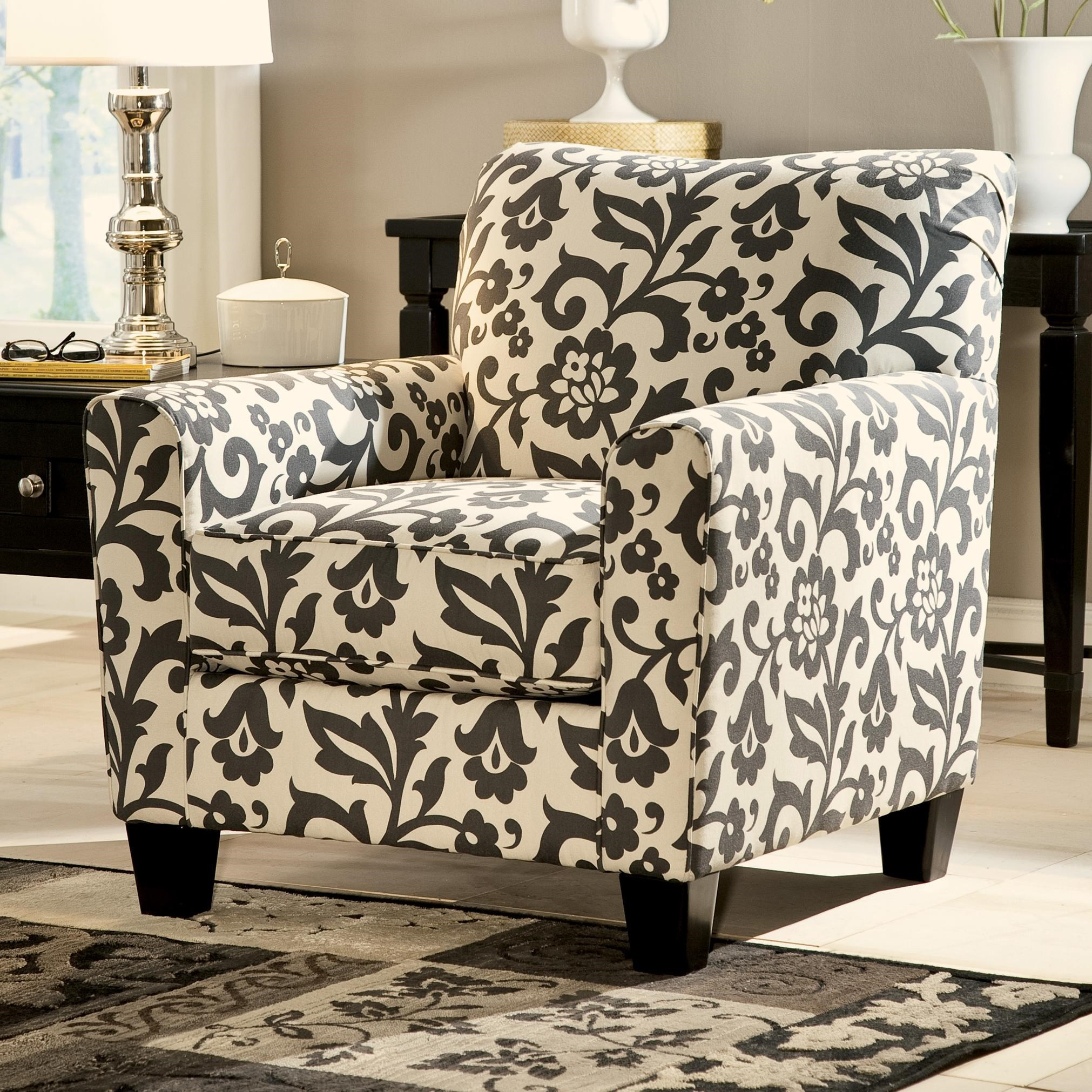 Ordinaire Signature Design By Ashley Levon   Charcoal Accent Chair In Floral Print