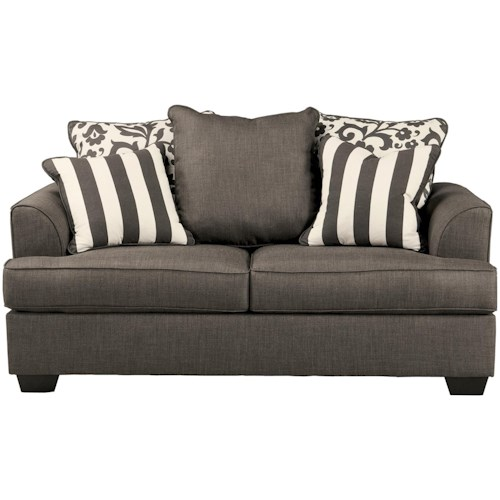 Signature Design by Ashley Levon - Charcoal Loveseat with Scatterback Pillows and Plush Coil Seat Cushions