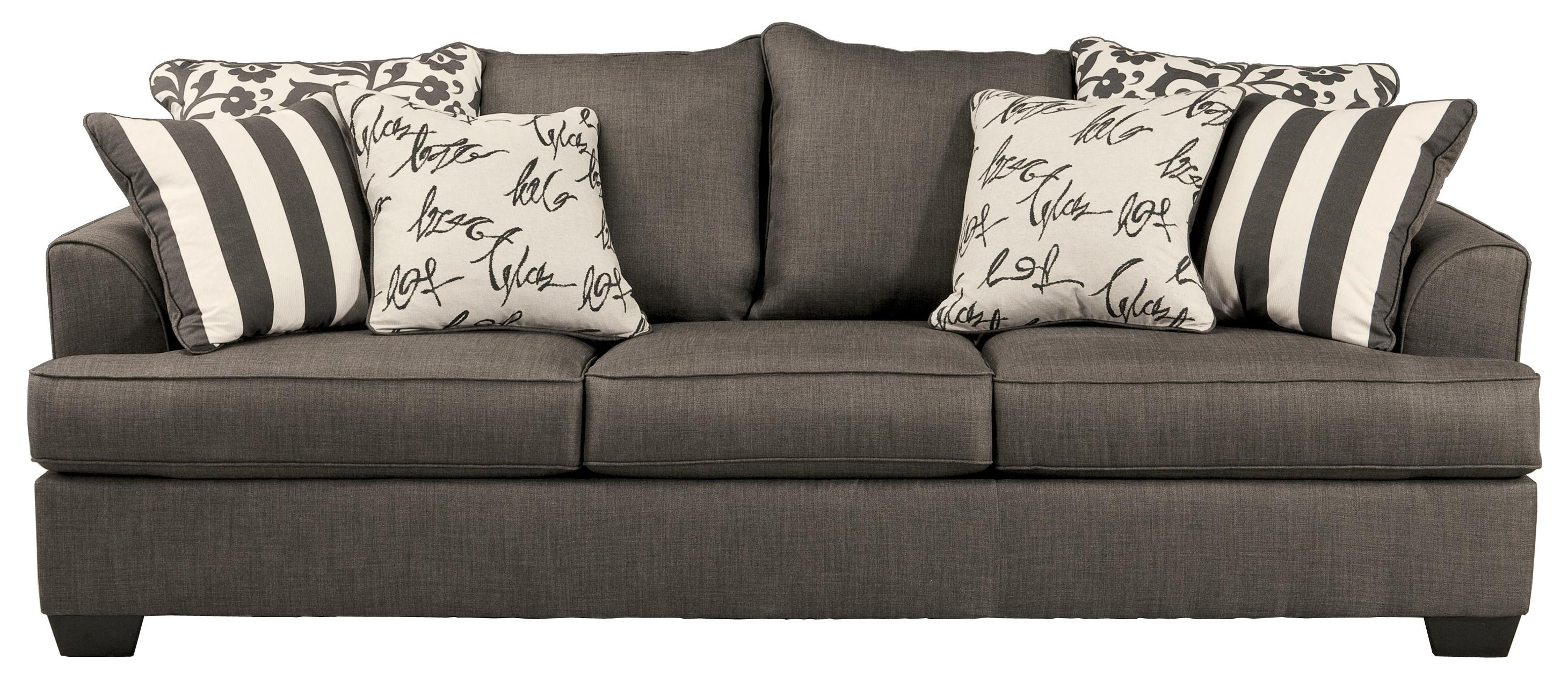 Signature Design By Ashley Levon   Charcoal Queen Sofa Sleeper With Memory  Foam Mattress