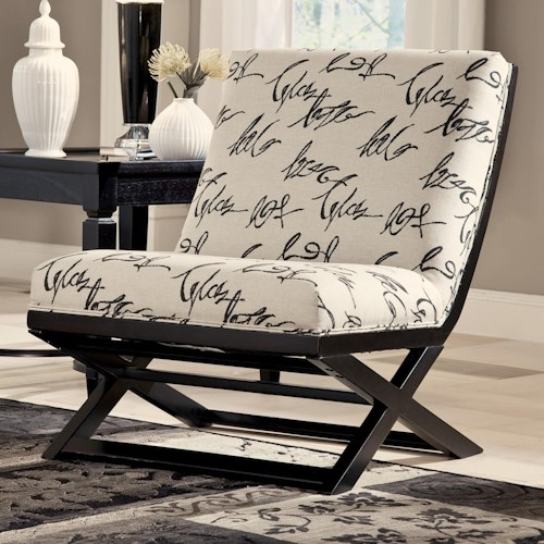 Signature Design By Ashley Levon Charcoal Armless Showood Accent Chair With Abstract Script Fabric