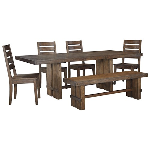Signature Design by Ashley Leystone Industrial Rectangular Table and Chair Set with Bench