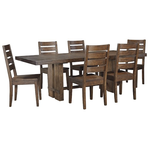 Signature Design by Ashley Leystone Industrial 7 Piece Rectangular Table and Chair Set