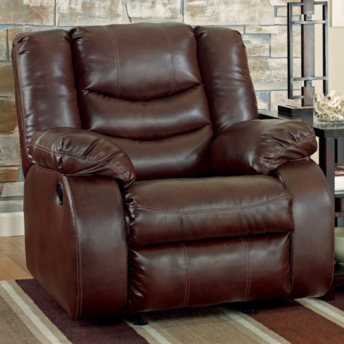 Benchcraft Linebacker DuraBlend - Espresso Contemporary Rocker Recliner with Pillow Arms