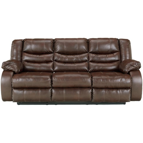 Benchcraft Linebacker DuraBlend - Espresso Contemporary Reclining Sofa with Pillow Arms