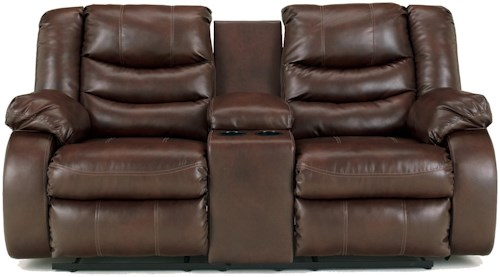 Benchcraft Linebacker DuraBlend - Espresso Contemporary Double Reclining Loveseat with Console