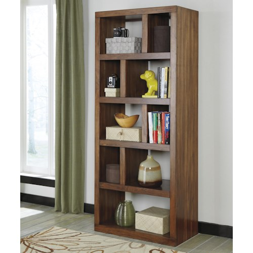 Signature Design by Ashley Lobink Contemporary Open Bookcase with Asymmetrical Shelves