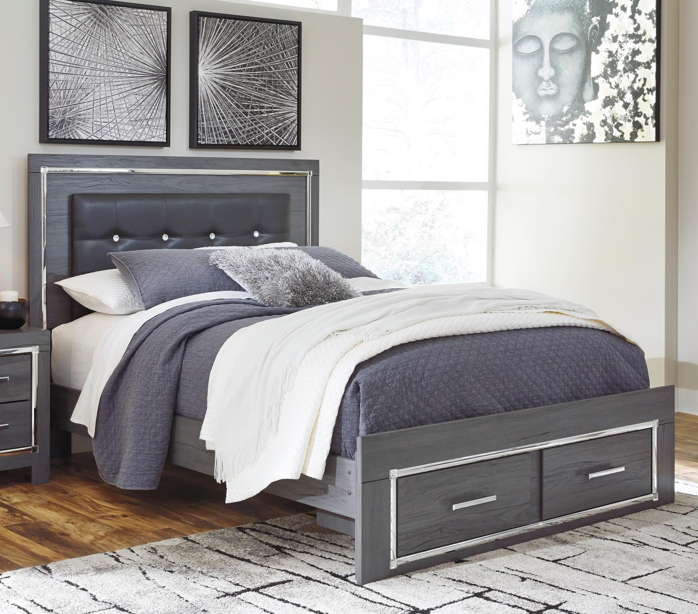 Queen Upholstered Bed with Color Changing LED Lighting and Footboard Storage