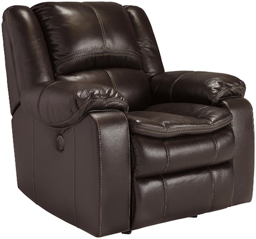 Signature Design by Ashley Long Knight Faux Leather Power Rocker Recliner with Contoured Pillow Top Seating