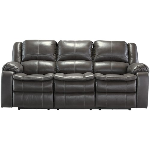 Signature Design by Ashley Long Knight Faux Leather Reclining Power Sofa with Contoured Pillow Top Seats