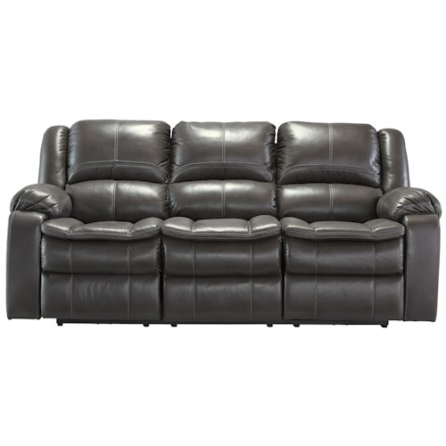 Signature Design by Ashley Long Knight Faux Leather Reclining Sofa with Contoured Pillow Top Seats
